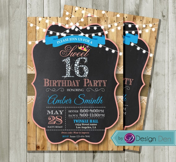 Sweet 16th Birthday Invitation. Country Chic Style. Pink And