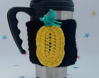 Pineapple mug sleeve, Coffee cup cosy, Tropical theme, travel cozy, mens tea cosy, pineapple applique, coffee lover, mug sleeve, cup warmer