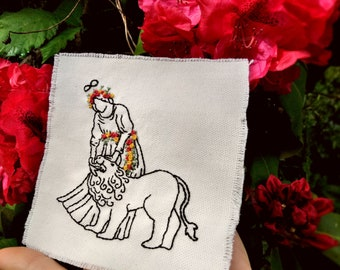 Hand Embroidered Strength Tarot Patch