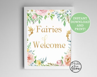 Fairies Welcome Party Sign, Printable Fairy Birthday Party Poster, Fairy Tea Party, Fairy Party, Pixie Faerie Sign 8x10 PDF INSTANT DOWNLOAD
