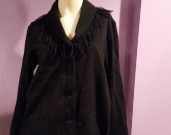 SALE darling black fringe wool blend gypsy boho awesomeness  shawl collar jacket size small medium