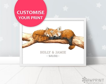 Twin Red Pandas nursery name sign,Red Panda nursery baby name signs, new baby gift for twins, red panda baby print twin baby gift