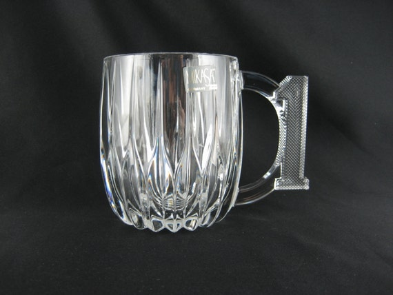Attractive Heavy Crystal Glass Beer Mug, Vintage Clear Mikasa Large Coffee Mug W/ #1  Handle Elegant Drinking Cup Fatheru0027s Day Gift For Him Cool Barware