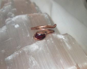 Copper Garnet gemstone cuff ring ,wraps round finger size 7