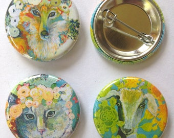Animal Art Buttons, set of 3, 1.25 in each, by Jenlo