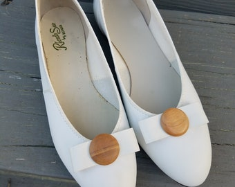 1960s shoes//Rhonda Sue by Norman white Flats brand new//vintage 60s shoes//7.5