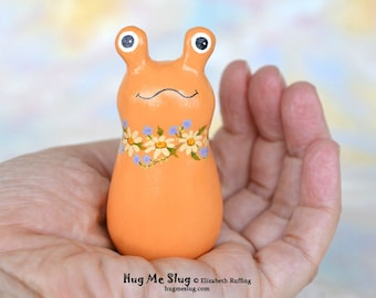Handmade Slug Figurine, Miniature Sculpture, Soft Orange Floral, Hug Me Slug, Animal Totem Charm Figure with Flowers, Personalized Tag