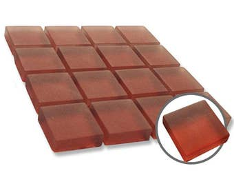 1 inch Red Frosted Mosaic Glass Tiles