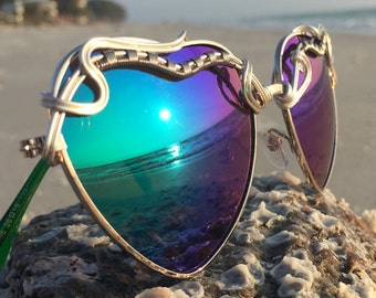 HeaRTS BLUE Reflective ~ SPUNGLASSES ~ Turquoise & Silver Wire Wrapped ~ Sunglasses Eyewear OOAK One of a Kind New Free Shipping