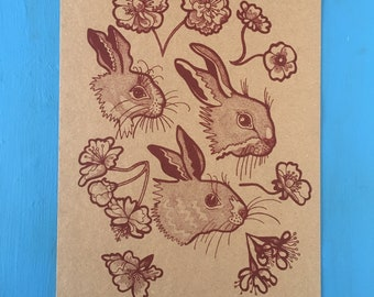 RABBITS screen print