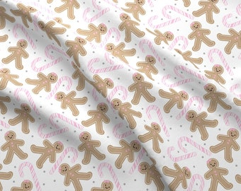 Gingerbread Fabric - Gingerbread Girl Pink Candy Cane By Sylviaoh - Gingerbread Girl Candy Cane Cotton Fabric By The Yard With Spoonflower