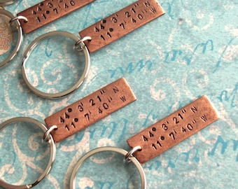 GPS Coordinates Keychain . Hand Stamped Lat/Long antiqued charm . One Rectangle pendant in Copper, Silver or Gold . Souvenir Gift Boyfriend