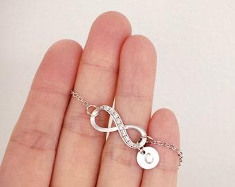 Infinity bracelet, Personalized bracelet, Friendship, Initial bracelet, Bridesmaid gift, coin Initial Bracelet