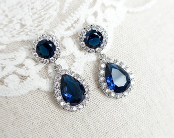 product earrings image solitaire saphire classic white gold sapphire blue natural