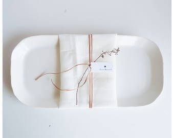 Handmade porcelain Platter. Perfect uneven edges and antique white glazed . Free shipping to US orders.