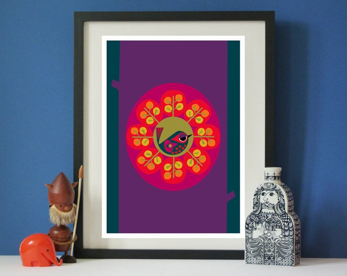 Home a little bird print by Jay Kaye  A3 print  Scandinavian modernist Style
