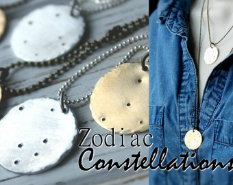 Sale. FLASH SALE FLASH Sale Zodiac Constellation Horoscope Necklace. Brass or silver. stars. celestial
