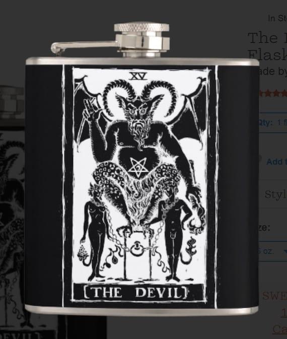 The Devil Tarot Card hip flask