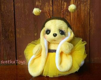 Plush rabbit, rabbit handmade, bee, textile rabbit, yellow rabbit, bunny long ears, soft toy bunny bee costume,rabbit in tutu, little bunny