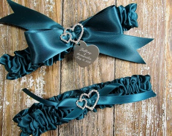 Teal Wedding Garter Set, Personalized Satin Garters with Engraving and Rhinestone Linked Hearts