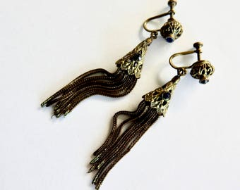 Antique Brass Cobalt Tassel Earrings