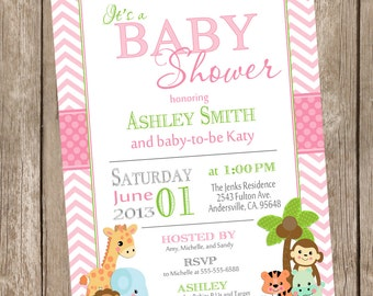 Girl Jungle Baby Shower Invitation, jungle, chevron, green, pink, safari, typography, printable invitation ps1