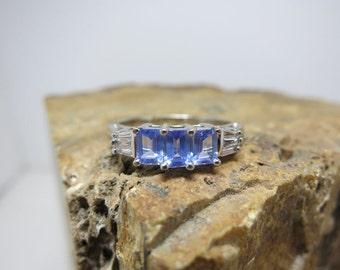 ceylon sapphire ring emerald cut 14k white gold