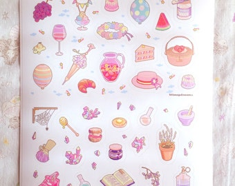 pastel crystal picnic sticker sheet featuring pixel art by bitmapdreams