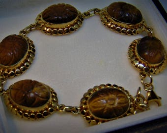 Fabulous Tigers Eye Golden Bracelet. Beautifully Designed by TEOH.