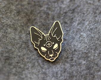 New Moon Sphynx Cat Enamel Pin, Lapel Pin