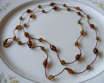 Vintage Glass Bead Rope Necklace