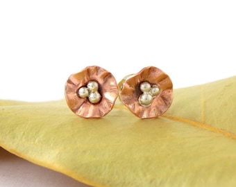 Mini Morning Glory Flower Stud Earrings: sterling silver, copper flower, dainty earrings, blossom earrings, dainty studs, flower studs