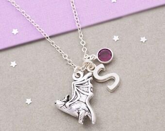 Bat necklace, personalized jewelry, birthstone necklace, initial necklace, goth jewelry, silver bat charm, bat jewelry, bat pendant, for her