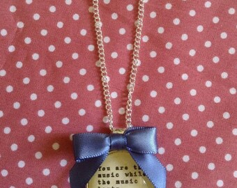 T S Eliot Quote Necklace -  Handmade, Unique (FREE or LOW COST shipping)