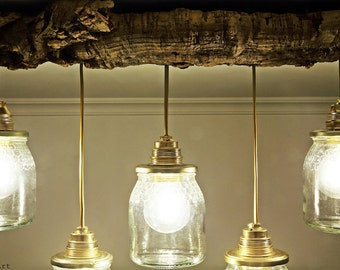 recycled lighting. Ceiling Lamp With Jars Of Transparent Glass, Recycled Pendant Luminaire, Original Lighting Kitchens And D