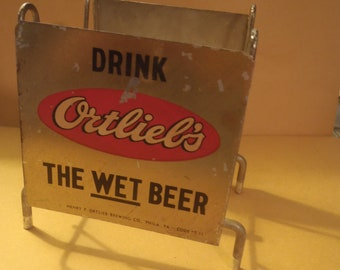Ortlieb's Beer Vintage Metal  Napkin Holder