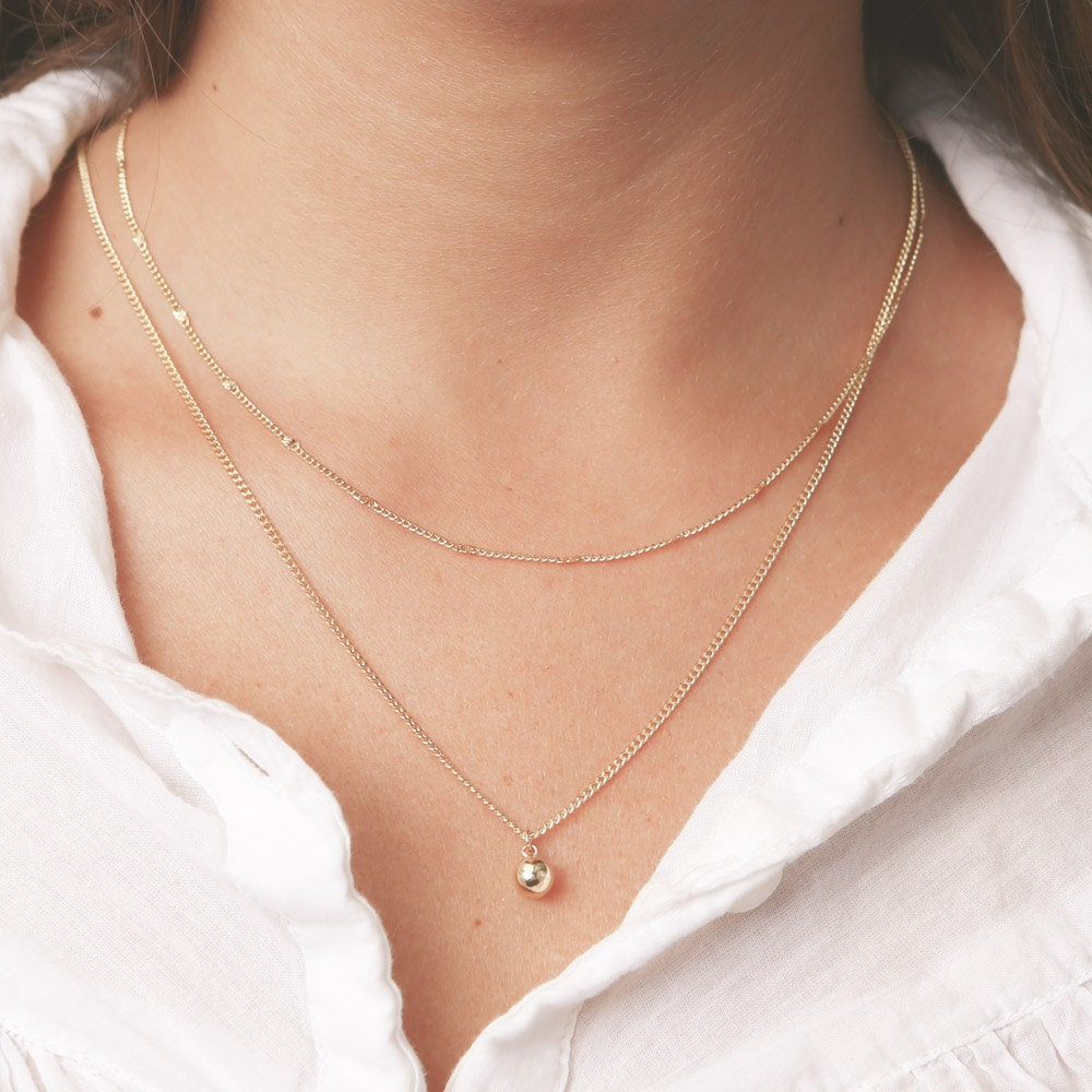 Gold Layered Necklaces Set Tiny Ball Pendant Delicate Thin