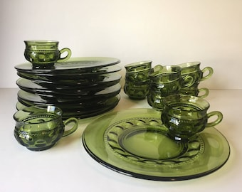 Vintage Snack Sets Kings Crown Thumpprint Luncheon Set Avocado Green Plates u0026 Cups Set of Nine Plates and Cups Mid Century : luncheon plates with cup holder - pezcame.com