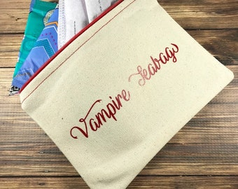Tampon Case, Tampon Holder,  Sanitary Pad Pouch, Vampire Teabags