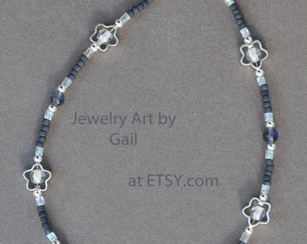 Blue and Silver Flower Anklet