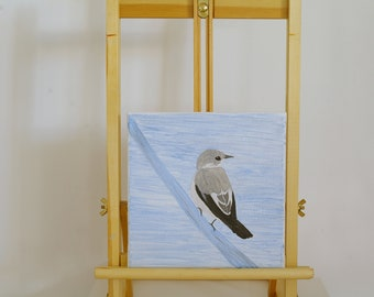 Monochrome songbird (flycatcher) painting - Original acrylic art on canvas for minimalist wall decoration