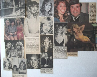JENILEE HARRISON ~  Three's Company, Dallas, Tank, Curse III Blood Sacrifice, Cindy Snow ~ Color and B&w Clippings, Articles from 1980-1986