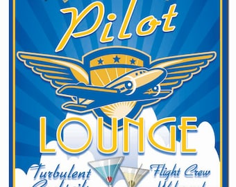 Personalized Pilot Lounge Hardboard Wall Sign