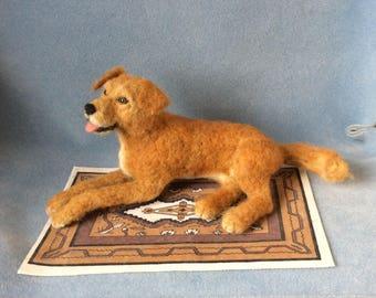 Felted dog Sculpture custom made realistic animal art pet replica