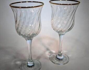 Vintage Gold-Rimmed Wine Glasses-Set of 2