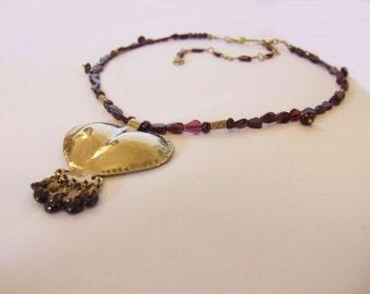 Statement Gold pendant,Garnet necklace,January birthstone,Boho ethnic necklace,Gold pendant necklace,Modern ethnic jewelry,Beaded necklace.