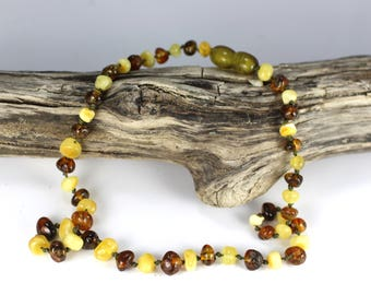 Genuine Baltic Amber Baby Teething Necklace, Multicolor baroque beads, knotted necklace, Polished Rounded Beads