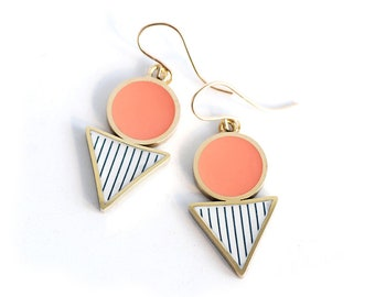 Coral and Gold Triangle Drop earrings in Brass and Resin