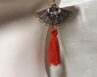 Silver plated Bull Head fan earrings and Red tassel