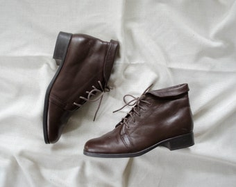 brown leather boots | brown ankle boots | lace up leather boots | flat leather boots | flat brown boots | size 7 boots